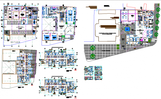 Hotel Design with Plan and Elevation dwg file
