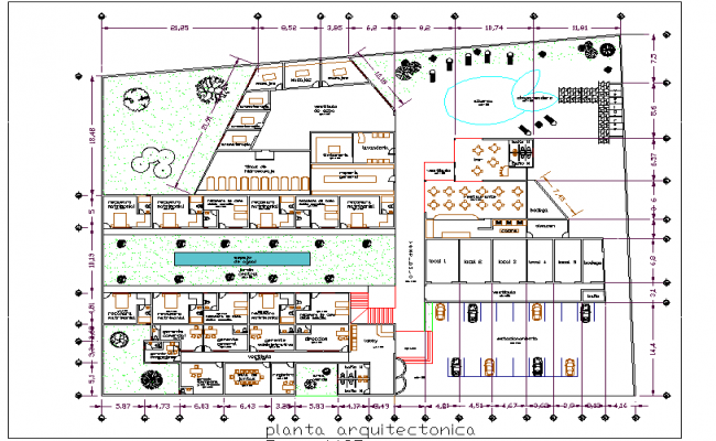 Hotel Layout plan dwg file