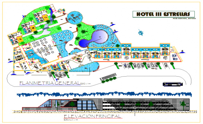 Hotel Design with plan and elevation