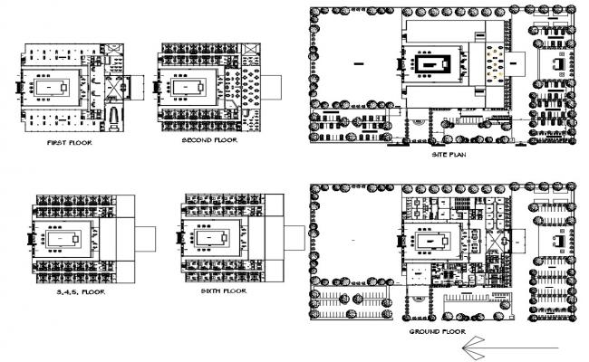 Hotel Floor Plan with Dimensions CAD File