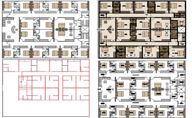 Hotel Layout plan with Furniture detail dwg file