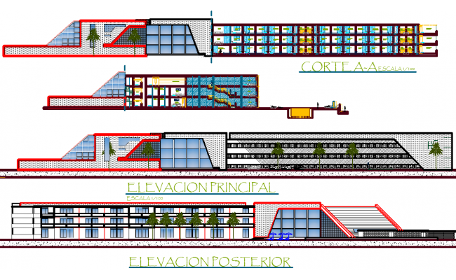 Hotel Section plan and Elevation Design