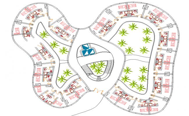 Hotel Single Bedroom layout plan dwg file