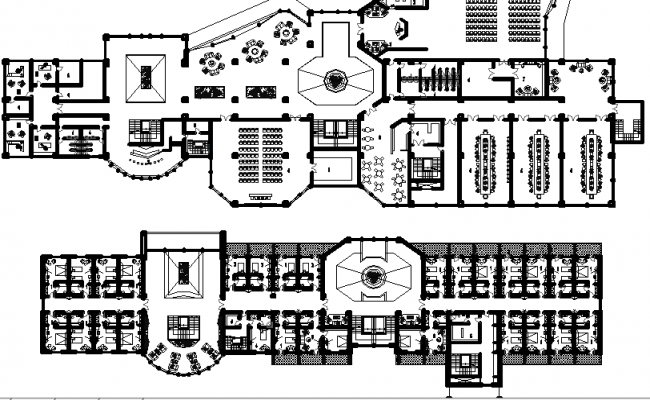Hotel and Museum Architecture Plan dwg file