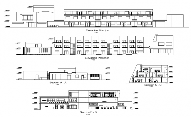 Hotel and restaurant detail elevation and section 2d view layout file