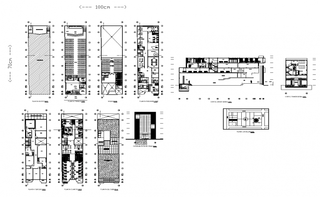 Hotel and restaurant detail section and plan view layout file