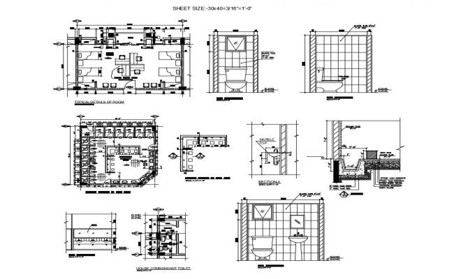 Hotel blocks details of toilet installation and room plan cad drawing details dwg file