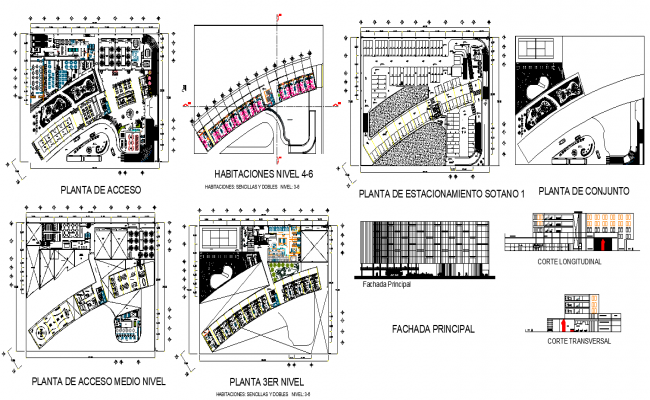 Hotel building elevation and plan 2d view CAD construction dwg file