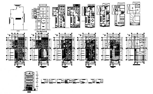 Hotel building plan 11.44mtr x 18.50mtr with detail dimension in dwg file