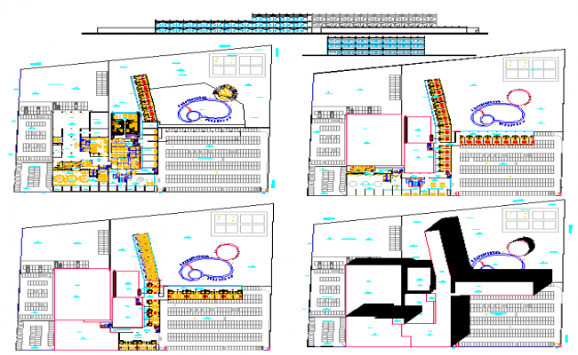 Hotel building plan design view in detail with dwg file