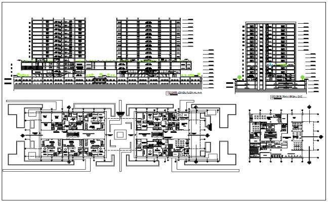 Hotel building plan detail view dwg file
