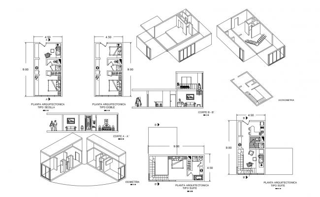 Hotel building plan with a different section in dwg file