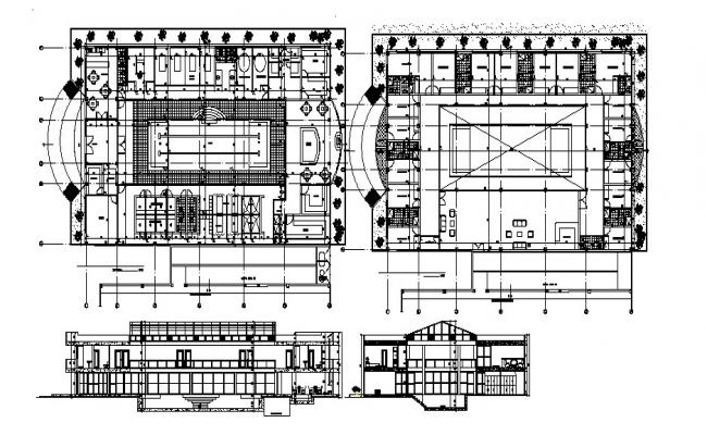 Hotel building with details dimension in autocad