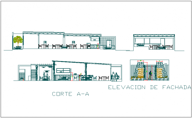 Hotel café plan detail view dwg file