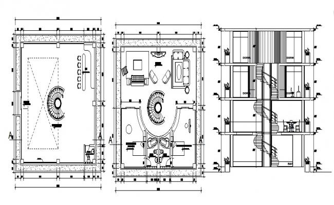 Hotel design with detail dimension in dwg file