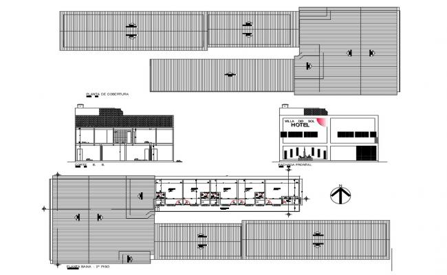 Hotel elevation, section, plan, cover plan and auto-cad details dwg file