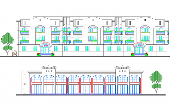 Hotel elevation view dwg file