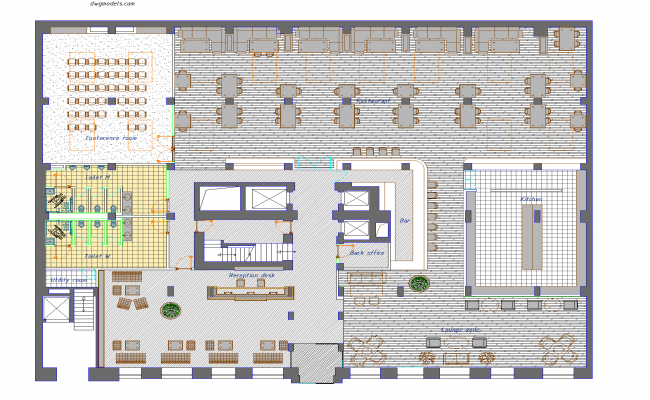 Hotel floor plan detail dwg file.