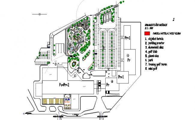 Hotel outdoor facilities and garden landscaping details dwg file