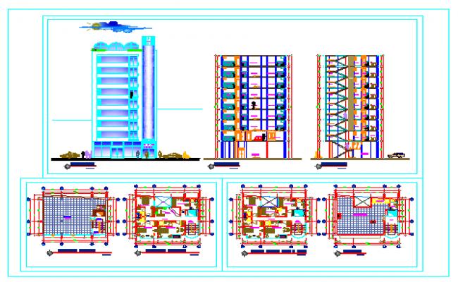 Hotel plan and elevation design