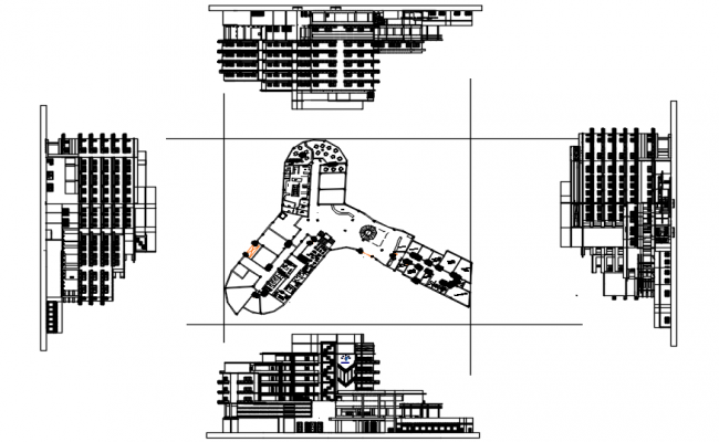 Hotel plan with detail dimension in AutoCAD