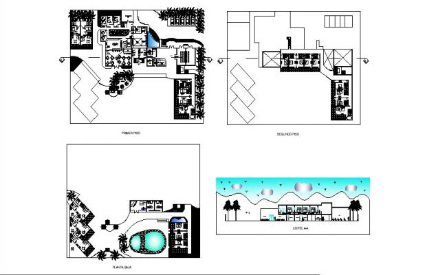 Hotel plan with different sections in dwg file
