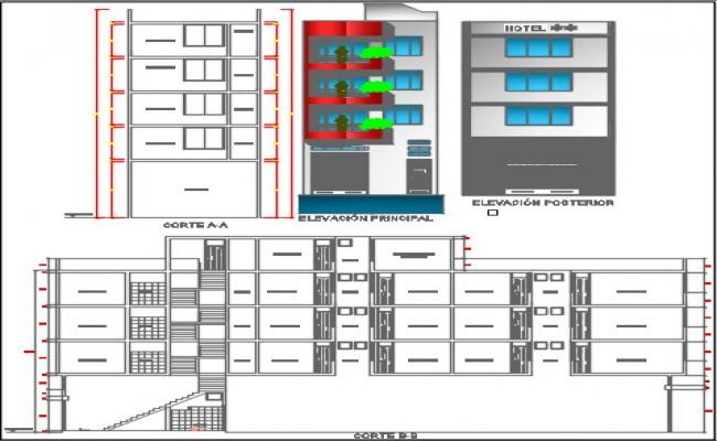 Hotel project elevation dwg.