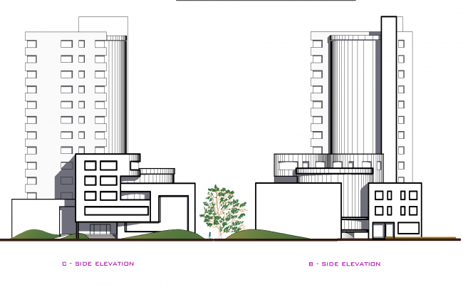 Hotel section plan detail dwg file.