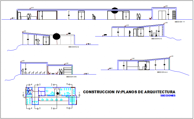 Hotel section view with different axis dwg file