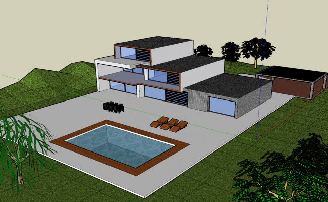 Hotel view with pool 3d view skp file