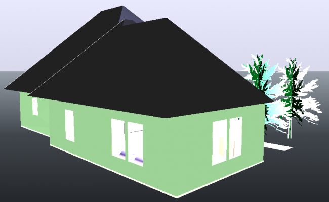 House  3d view dwg file