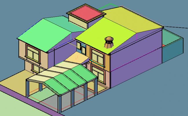 House 3 D plan autocad file