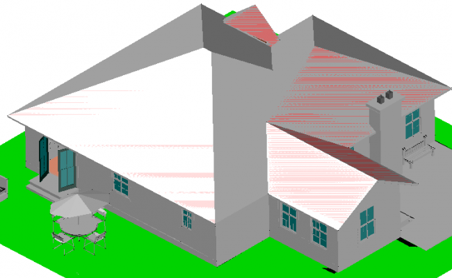 House 3 D plan view detail dwg file