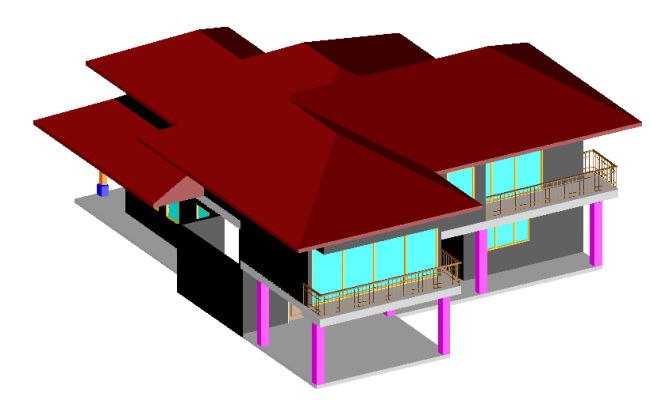 House 3D view design dwg file