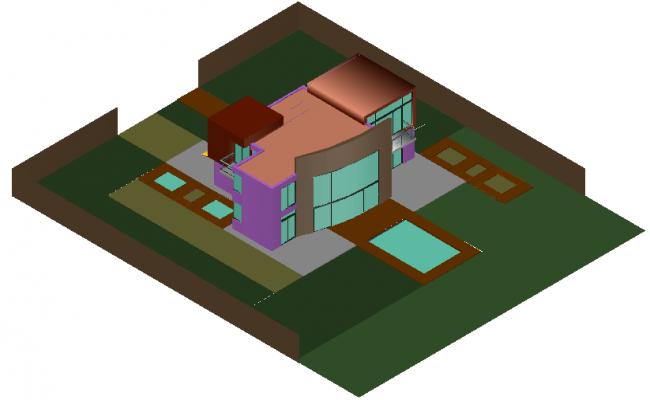 House 3d design dwg file