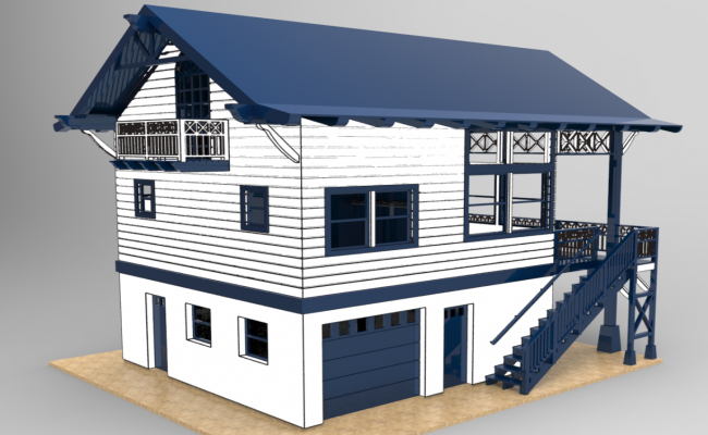 House 3d detail dwg file