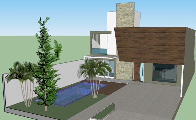 House 3d view skp file