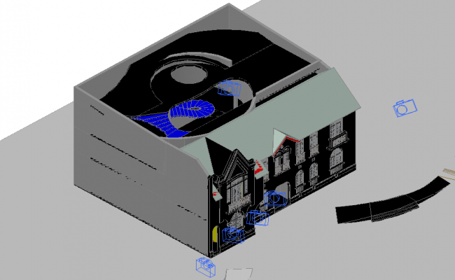 House 3d view with camera position and preview of house dwg file