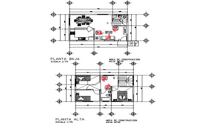 House 84 x 542 plan detail dwg file