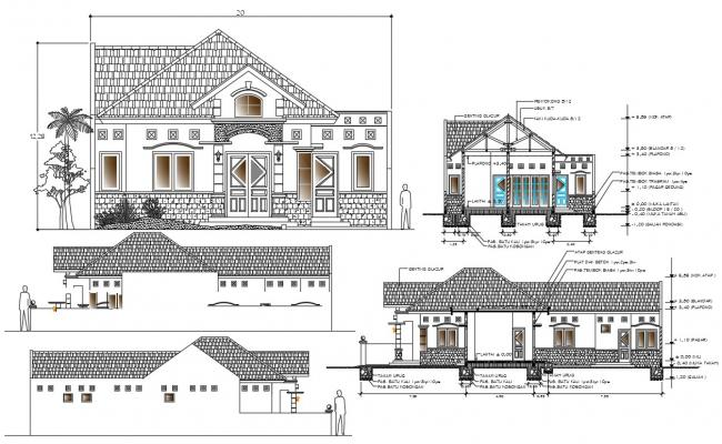 House Architectural elevation and section CAD File