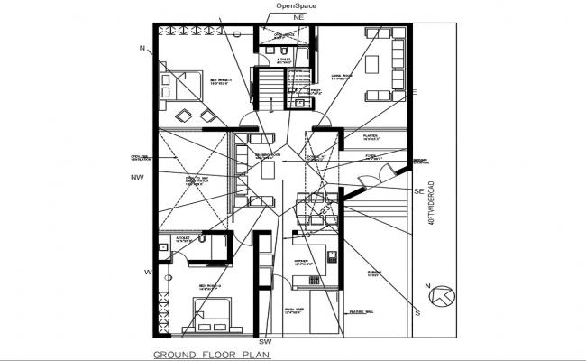 House Bungalow Plan Architectural Drawing DWG File
