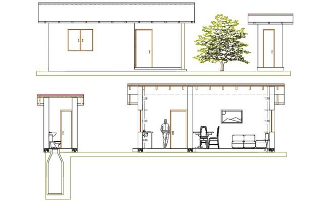 House Elevation  And Section AutoCAD File Free