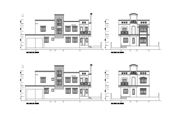 House Elevation Architecture CAd Drawing Free Download