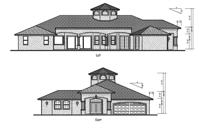 House Elevation Design AutoCAD Drawing