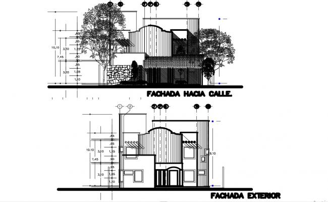 House Elevation Design With All Detail  In AutoCAD File