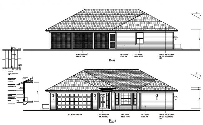 House Elevation Design With Clay Roof Tile DWG File