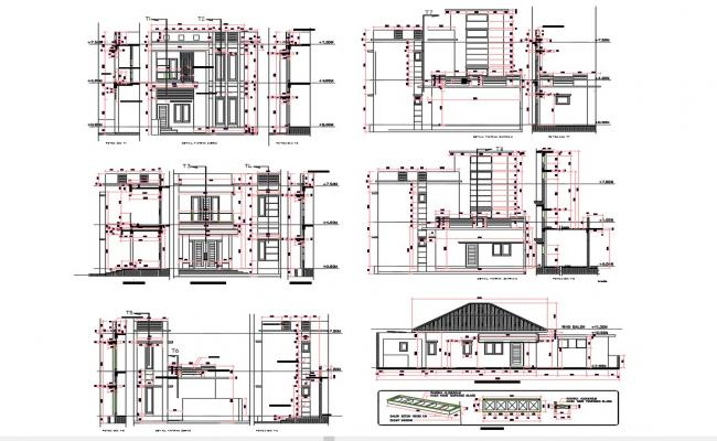 House Elevation Design Working Drawing DWG File