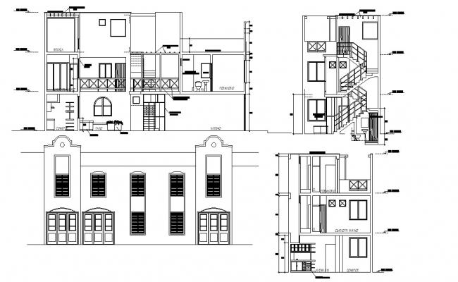 House Facade and Section AutoCAD Drawing