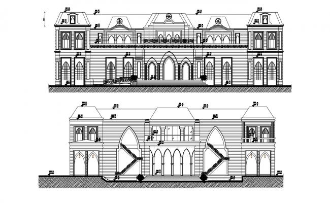 House Front Elevation Designs For Double Floor DWG File Download