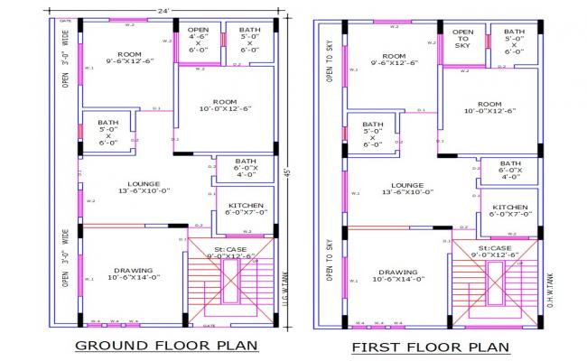 House Ground Floor And First Floor Plan AutoCAD File